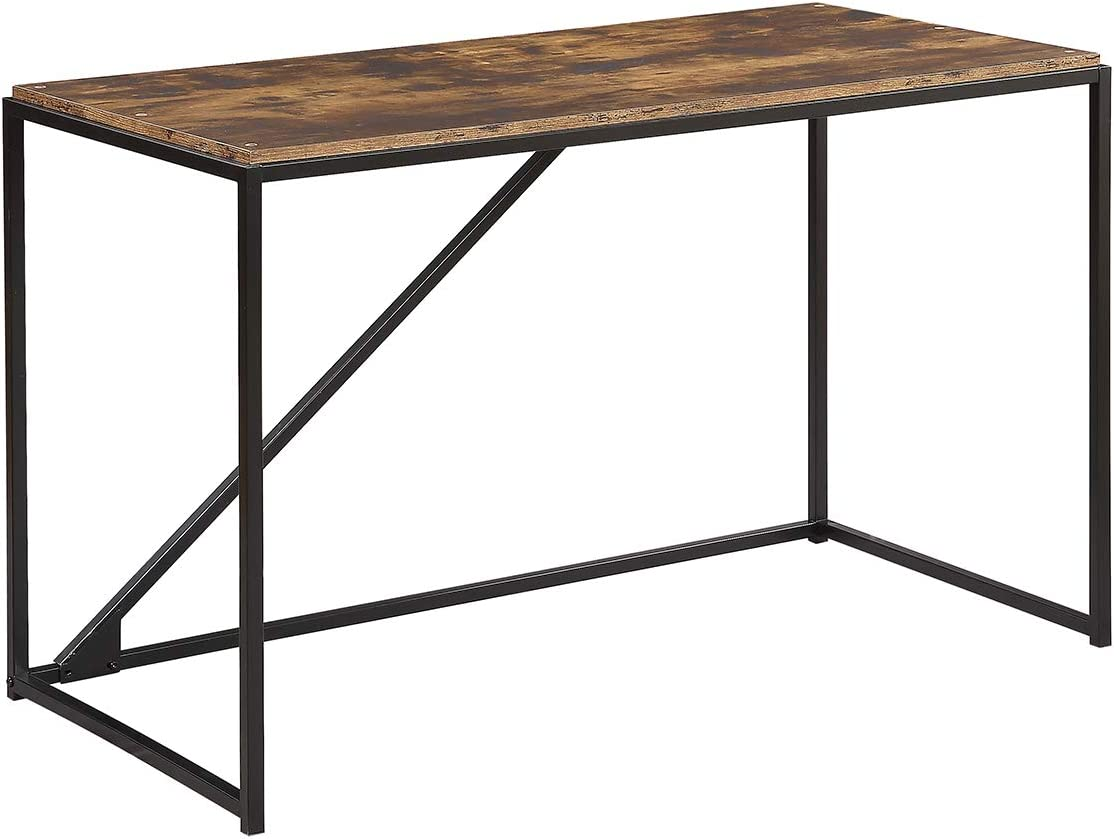 """Home Office Small Computer Desk 46"""" Industrial Study Desk with Metal Frame Modern Simple Laptop Table Brown"""