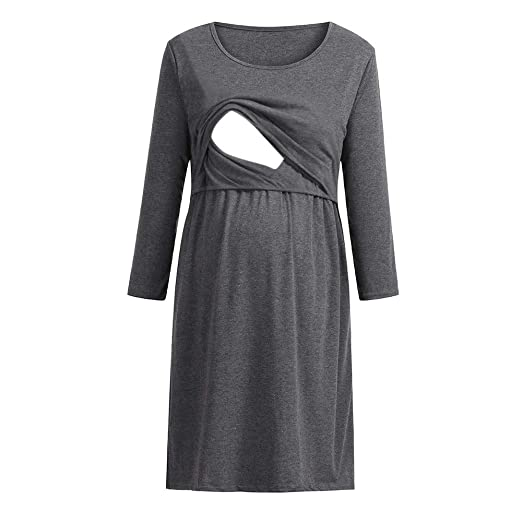 f16ed961956 Women s Maternity Solid Maxi 3 4 Side Ruched Sleeve Breastfeeding Nursing  Dress Pregnancy Clothes Dresses at Amazon Women s Clothing store