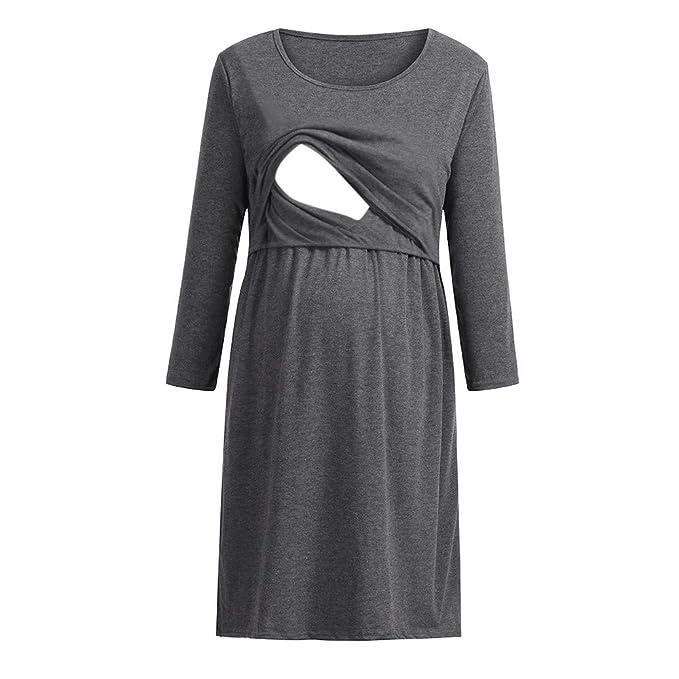 YiYLinneo Ropa De Embarazadas Modernas Vestido de Lactancia Maternidad de Noche Camisón Mujeres Camisetas Enfermería de Dormir Pijama Verano Encaje: ...