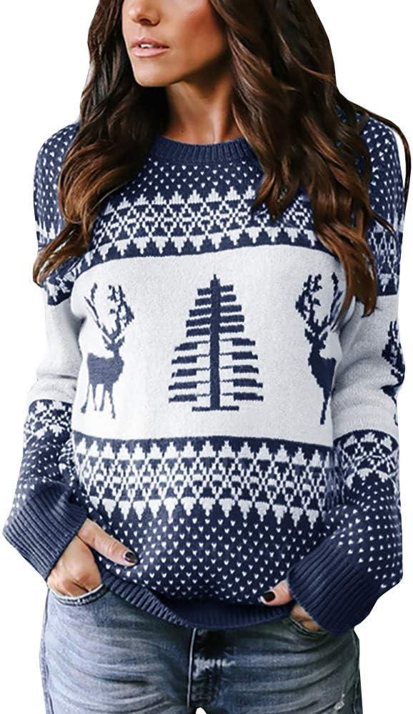 كنزة صوفية نسائية طويلة الأكمام بتصميم جريء لعيد الميلاد وشجرة عيد الميلاد حيوان الرنة محبوكة