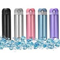 Wärmflasche aus Edelstahl mit Metall-Isolierung, Heißgetränk und Trinkhalm, 500 ml, Vakuumflasche, 12 Stunden heiß und 24 Stunden kalt, H8713