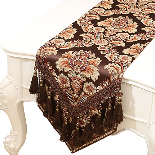 Riverbyland Elegant Table Runner Brown Jacquard Pattern 79x13