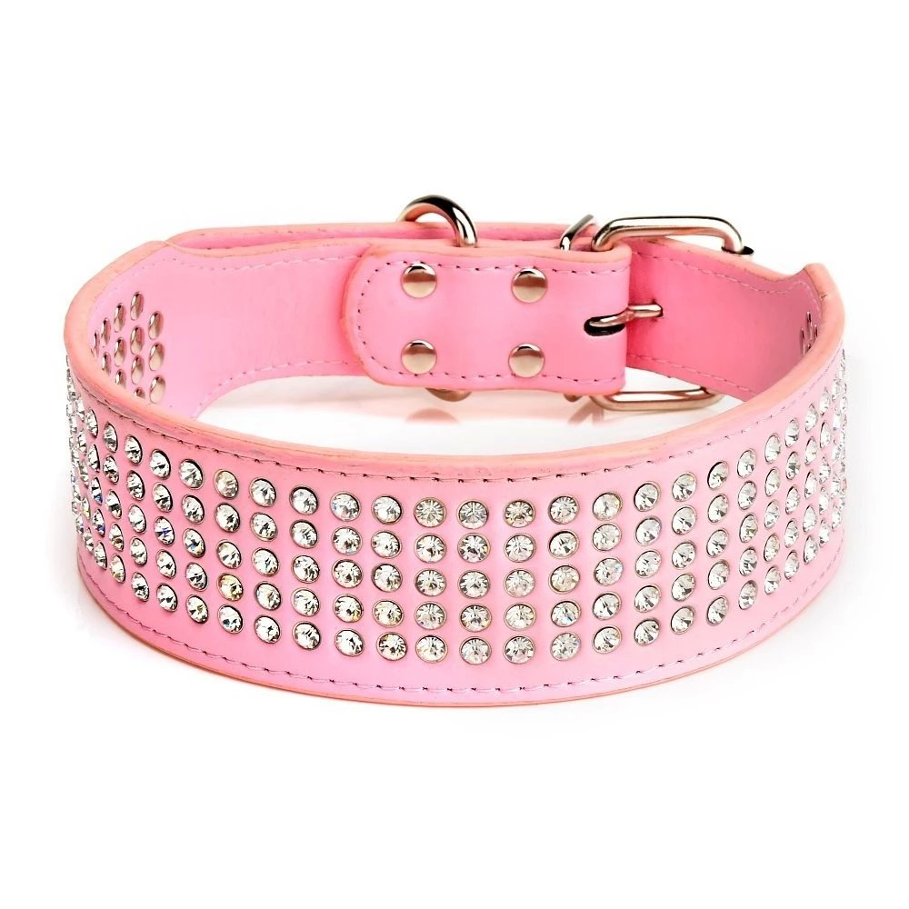 Beirui Rhinestones Dog Collars - 5 Rows Full Sparkly Crystal Diamonds Studded PU Leather - 2 Inch Wide -Beautiful Bling Pet Appearance for Medium & Large Dogs,17-20'' Pink