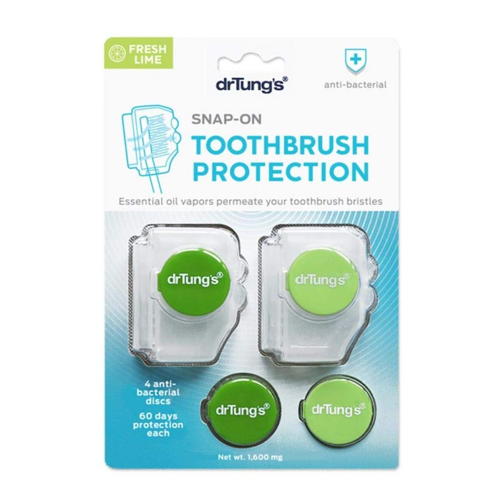 DrTung's Snap-On Toothbrush Protection with Anti-Bacterial Discs, 2 Protectors + 2 refill discs
