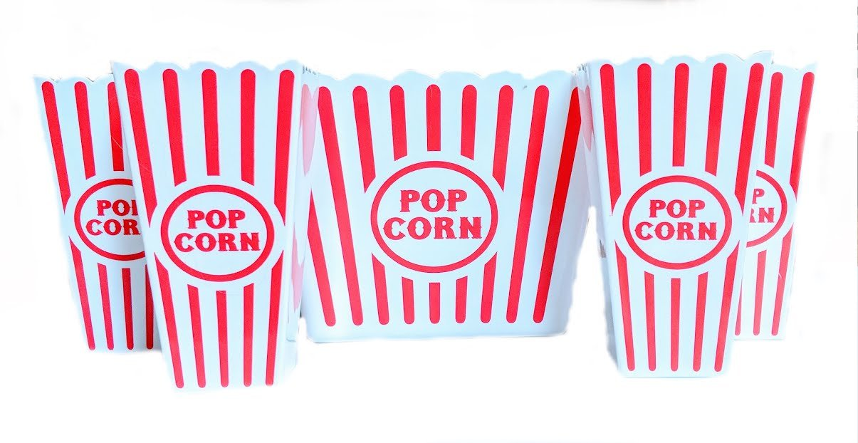 Bundle of Novelty Red and White Movie Theater Popcorn Tub With 4 Plastic Containers Greenbrier