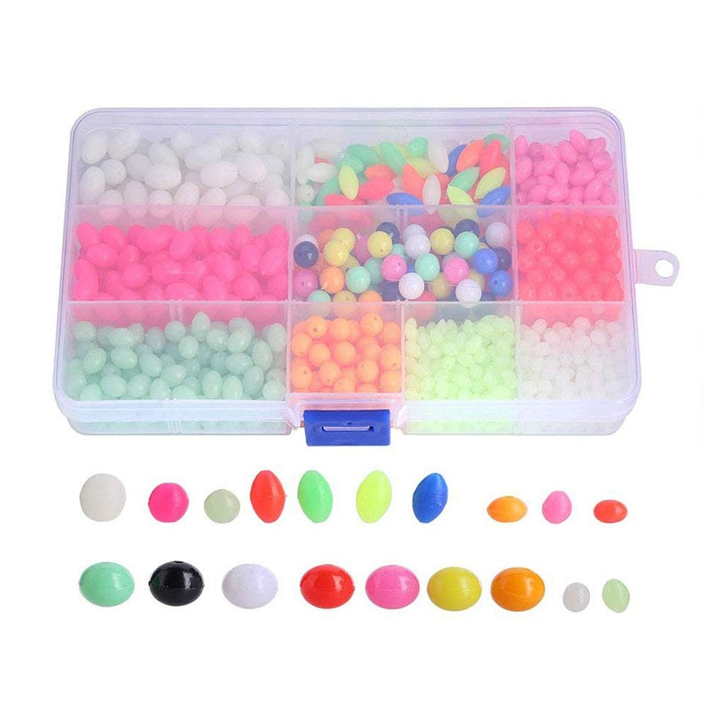 VGEBY Fishing Plastic Beads Oval Round Glow Luminous Multiple Colors & Sizes Fishing Beads in Box