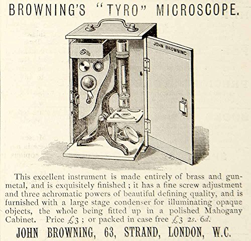 1885 Ad John Browning Tyro Microscope Science Lab Instrument London England YNM4 - Original Print Ad