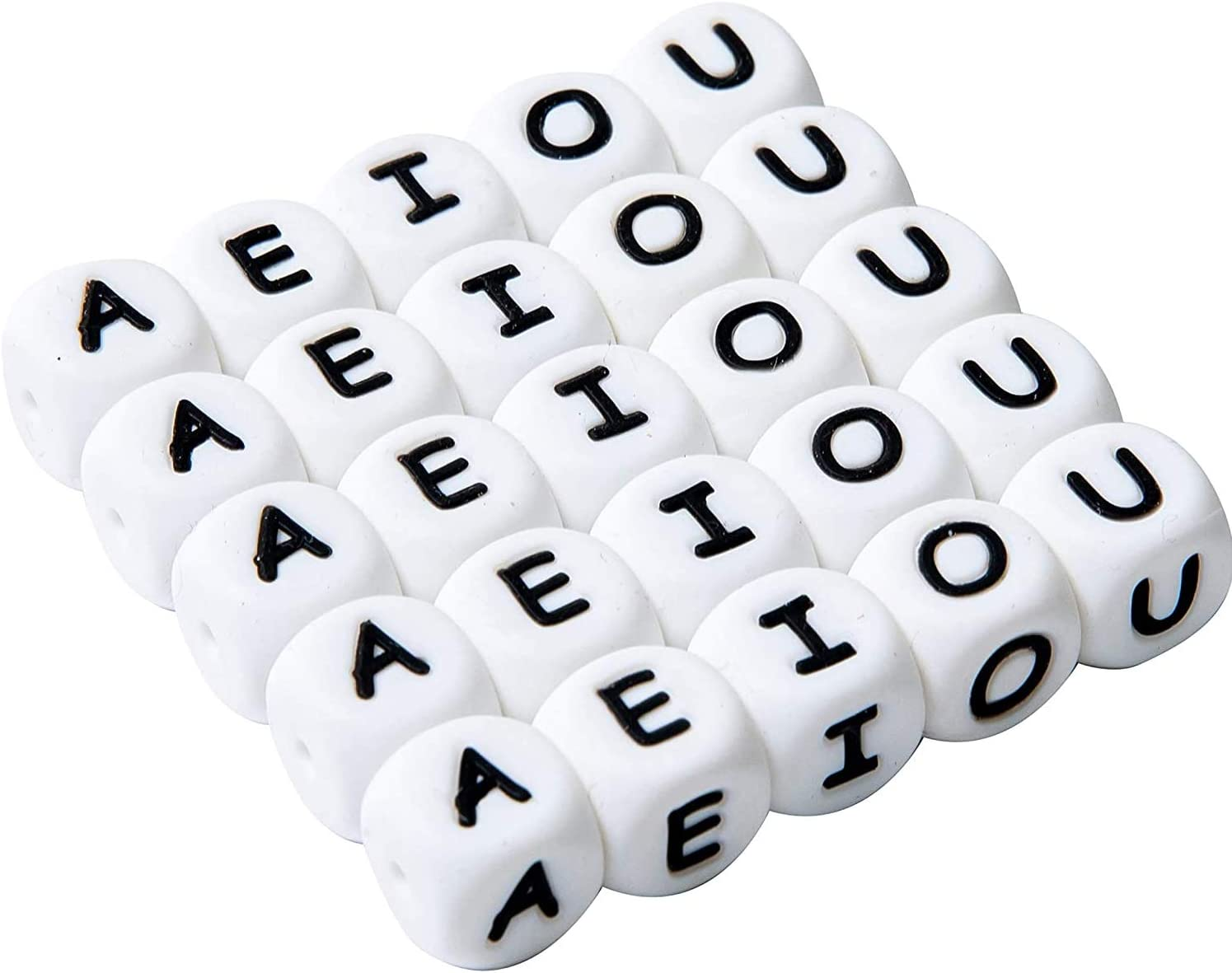 Promise Babe 12mm Square Silicone Alphabet Beads 40pc Vowel AEIOU Letters for DIY Nursing Necklace Baby Teething Beads