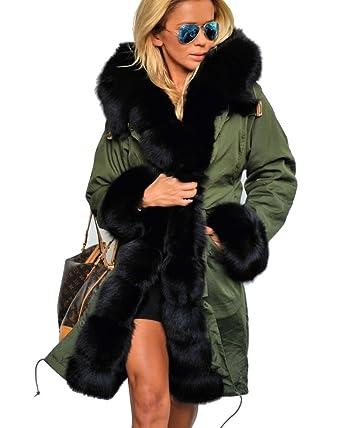 869e11819fbfa Roiii Women Winter Warm Thick Faux Fur Coat Hood Parka Long Jacket Size  8-18  Amazon.co.uk  Clothing