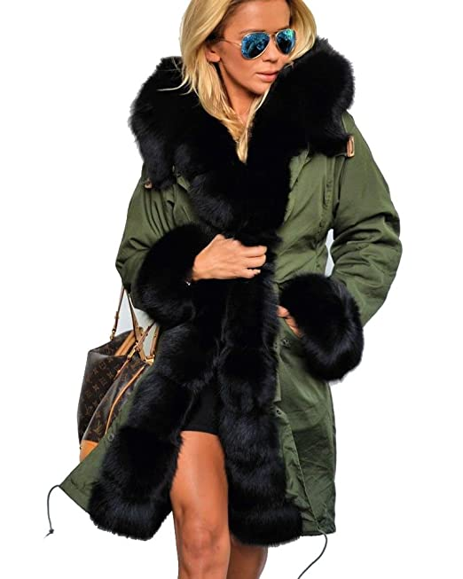 60fa45ec7e5 Roiii Women Winter Warm Thick Faux Fur Coat Hood Parka Long Jacket Size  8-18  Amazon.co.uk  Clothing
