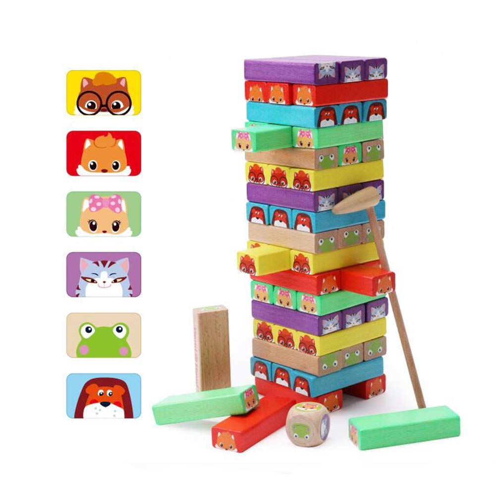 Lewo Bloques de Madera Coloridos Juegos de Tablero de apilamiento de Torre 54 Piezas para niñ os de 3 añ os en adelante Muwanzi