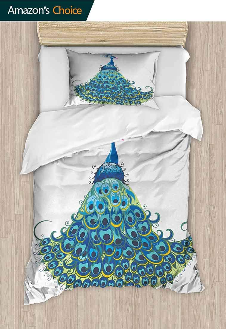 Peacock DIY Quilt Cover and Pillowcase Set, Peacock Illustration Floral Classical Curvy Artful Design Tropics Wildlife Theme, Print, Decorative Quilted 2 Piece Coverlet Set with 1 Pillow Shams,