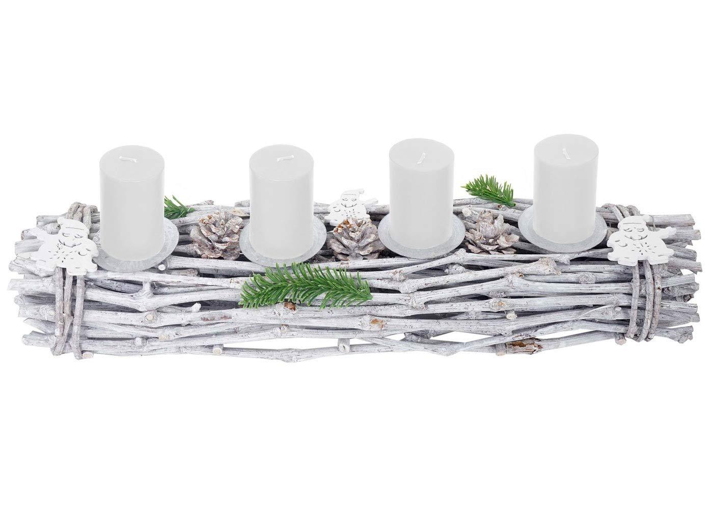 Holz 60x16x9cm wei/ß-grau ~ mit Kerzen rot Mendler Adventskranz l/änglich Weihnachtsdeko Adventsgesteck