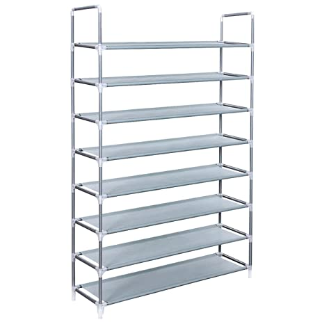 SONGMICS 8 Tiers Utility Steel Shoe Rack Storage Organizer Cabinet Tower Stackable Shelves Holds 40