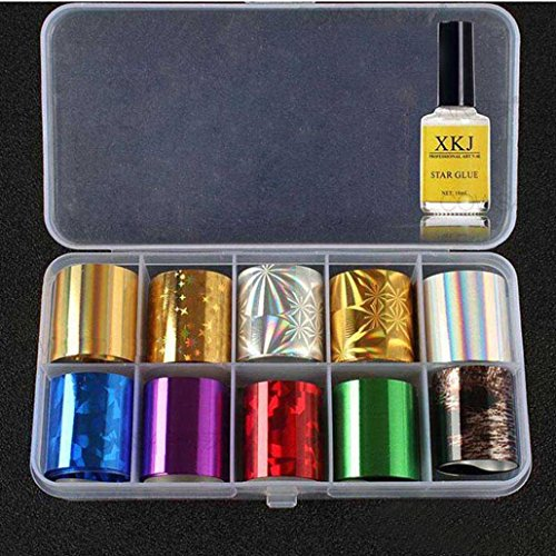 Couture Gold Foil (NewKellyNail Art Transfer Foil 10 Colors Sticker For Nail Tip Decoration & Star Glue Set)