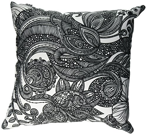 DENY Designs Valentina Ramos Bird In Flowers Black White Throw Pillow, 16 x 16