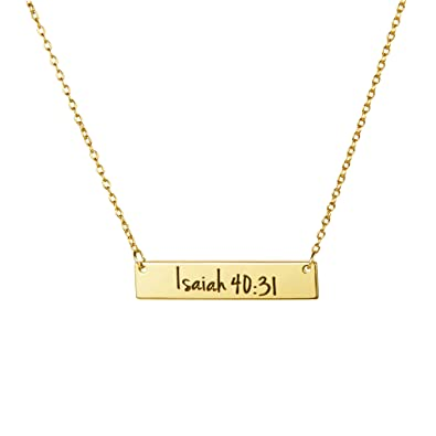 Memgift Inspirational Necklaces For Women Bible Verse Engraved Personalized Christmas Jewelry Gifts Her 18K Gold