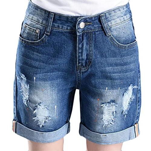 Cruiize Womens Casual Straight Fit Stretch Broken Hole Bermuda Denim Shorts