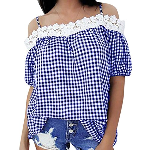 en Lace Plaid Short Sleeve Camisole Sexy Sling Strapless Off Shoulder Top Shirt (Strapless Poplin)
