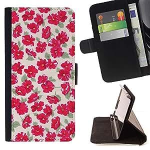 For Sony Xperia Z5 Compact Z5 Mini (Not for Normal Z5) Case , Flores Wallpaper Vintage rosado- la tarjeta de Crédito Slots PU Funda de cuero Monedero caso cubierta de piel