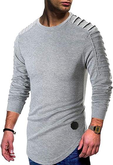 SXZG Nuevos Suéteres para Hombres Color Sólido Pliegues Casuales Camisa De Cuello Redondo para Hombres De Gran Tamaño Chaqueta para Hombres: Amazon.es: Ropa y accesorios