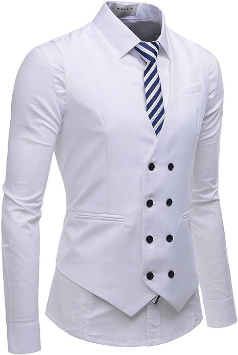 Men Double-Breasted Formal Dress Tuxedo Business Waistcoat Suit Vest Blazer Coat