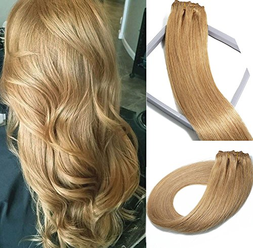 (Vario Clip in Hair Extensions Human Hair Double Weft Brazilian Hair 22 Inch Honey Blonde 7pcs 70g Set Silky Straight Top Grade 7A 100% Real Remy Human Hair Clip on Hair Extensions for women)