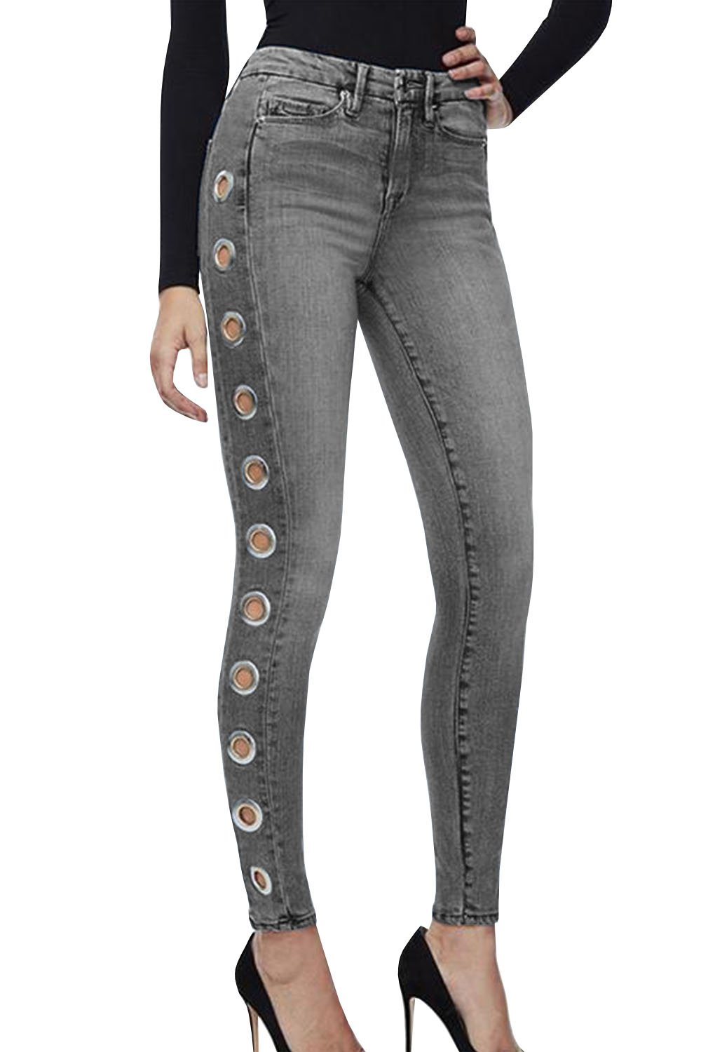 Karlywindow Women's Casual Skinny Jeans High Waist Full Length Side Holes Washed Stretchy Denim Jeans