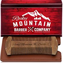 Beard Comb - Sandalwood Natural Hatchet Style Brush for Hair - Smells Amazing, Anti-Static & No Snag, Handmade Wide & Fine Tooth Contour Brush Best for Beard & Moustache with Carrying Case Pouch