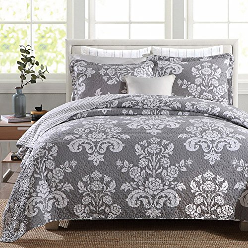 NEWLAKE Cotton Patchwork Bedspread Quilt Sets, Grey Flower V