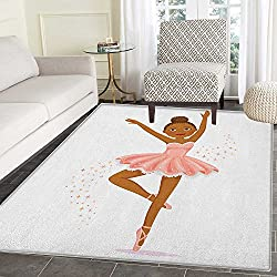 Girls Area Rug Carpet Ballerina Dancing Daughter Classic Performance Hobby Birthday Kids Baby Theme Customize door mats for home Mat 2'x3' Rose and Brown