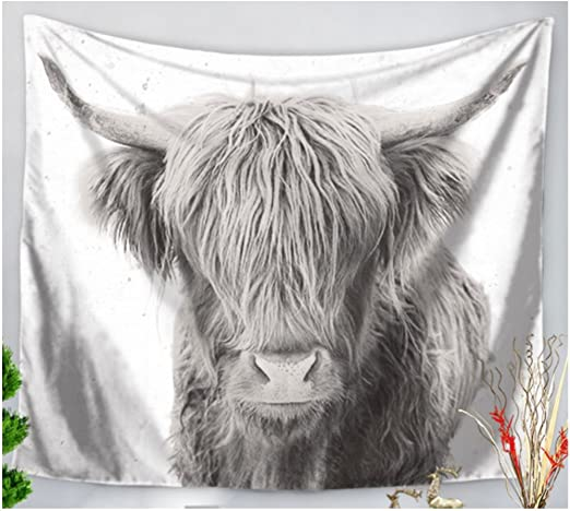 KRWHTS Close up of grass chewing highland cow on a green meadow which tries to look through its head of hai Fabric Wall Tapestry Home Decor