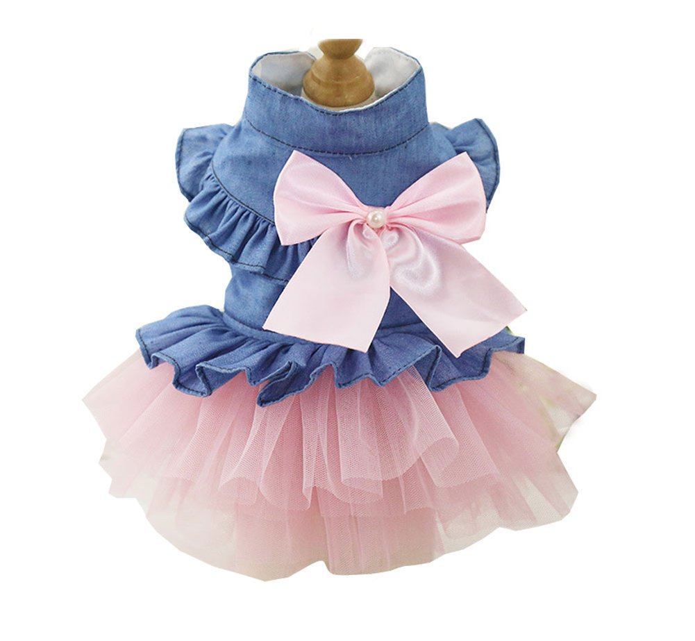 BBEART Pet Clothes, Sweet Bowknot Small Dog Skirt Girl Tutu Clothing Puppy Cat Sleeveless Apparel Teddy Clothes Harness Wedding Dresses for Spring and Summer (S, Pink)