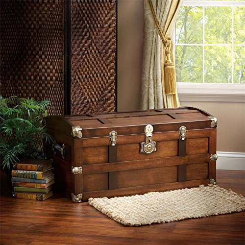 Brown Maple Wood Steamer Storage Trunk with Lock by DutchCrafters