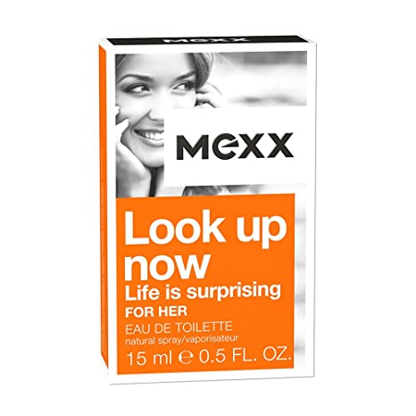 Mexx Look Up Now Woman – Eau de Toilette Natural Spray – Fruchtig feminines Damen Parfüm mit Pfirsich und Vanille – 1 er Pack (1 x 15ml)