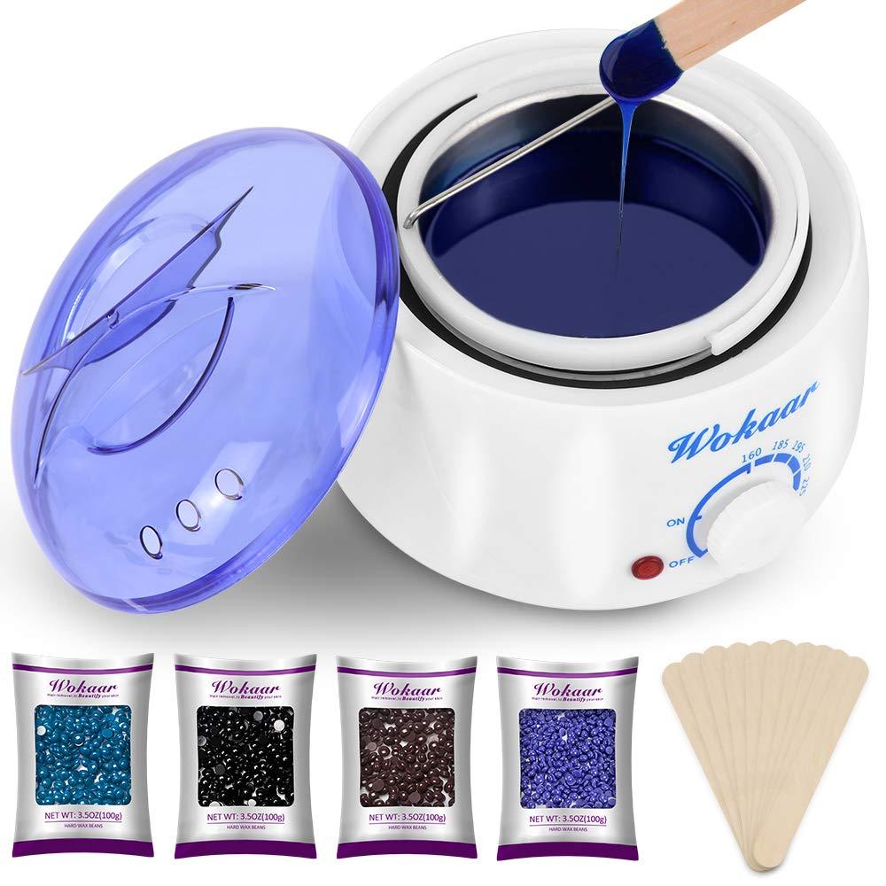 Wokaar Wax Warmer Hair Removal Waxing Kit with 4 Hard Wax Beans and 10 Wax Applicator Sticks