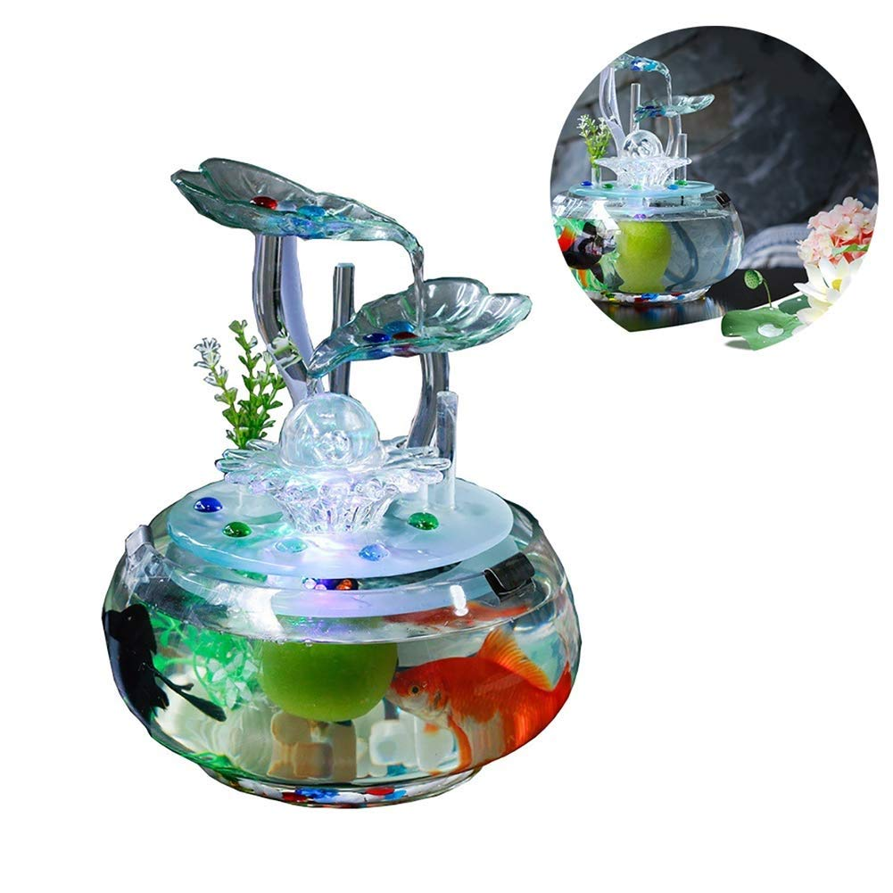 MC.PIG Aquariums Fish Bowls Flowing Water Ornaments Living Room Desk Surface Glass Fish Tank Crafts Humidifier Rockery Fountain Water View TV Cabinet Decoration