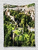 Ambesonne Green Tapestry Rome Italy Decor by, Vatican Gardens and European Historic Landmark Cityscape, Bedroom Living Kids Girls Boys Room Dorm Accessories Wall Hanging Tapestry, Green Ecru Cream