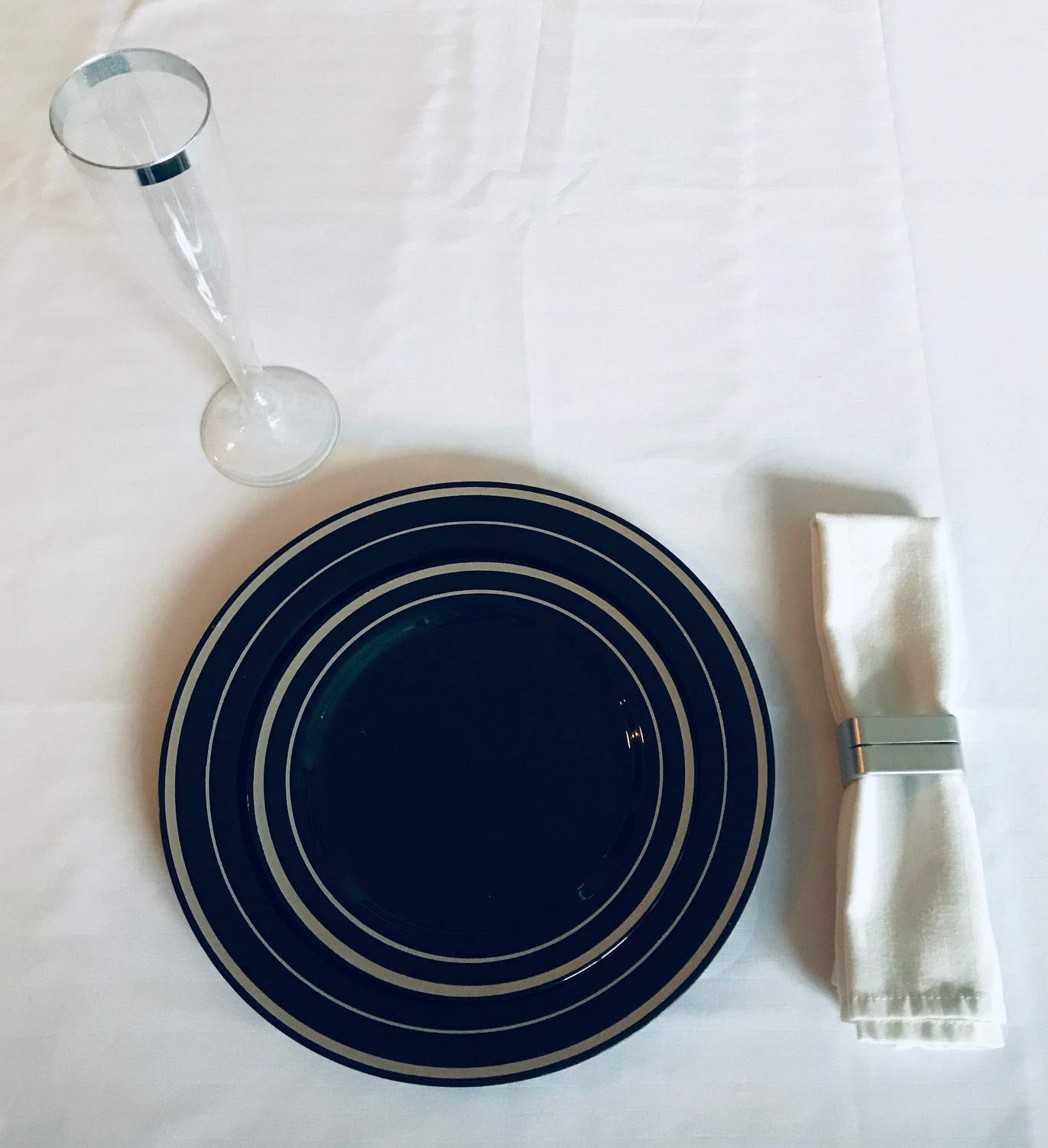 100 Piece Plastic Plates Black & Silver | 50 Guest | 50 Dinner Plates, 50 Dessert Plates by You're Invited (Image #4)