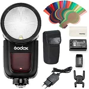 Godox V1S - Cámara de cabeza redonda (HSS, para cámaras Sony DSLR, con batería de litio, para Sony a7RII a7R a58 a99 a7RIII a7R3 a9 a77II a77 a350 ILCE6000L)