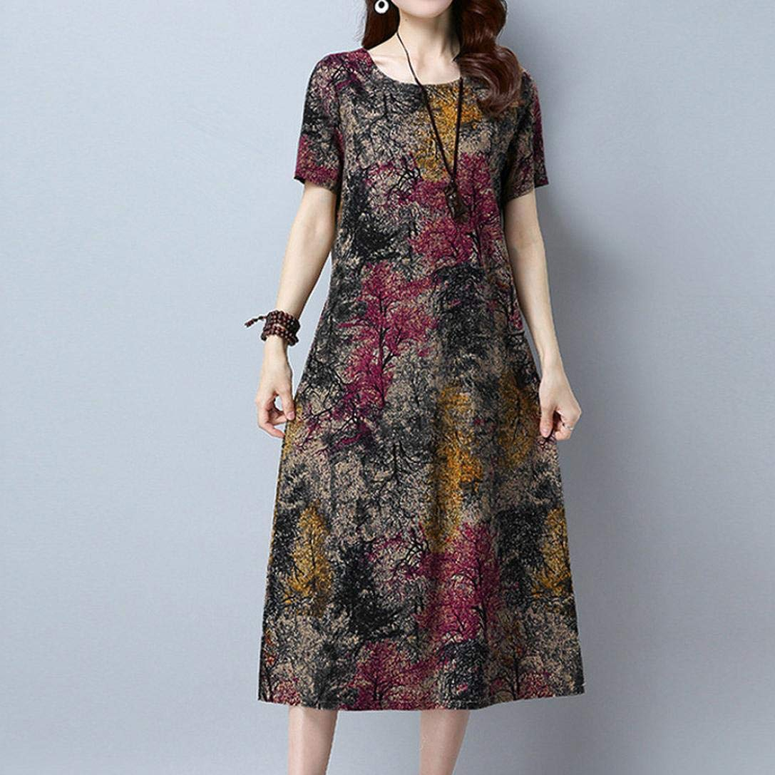 Cotton Linen Printed Vintage Dress with Pocket Clearance Ladies Short Sleeve Dress 5XL, Red Women Loose Dress,Vanvler