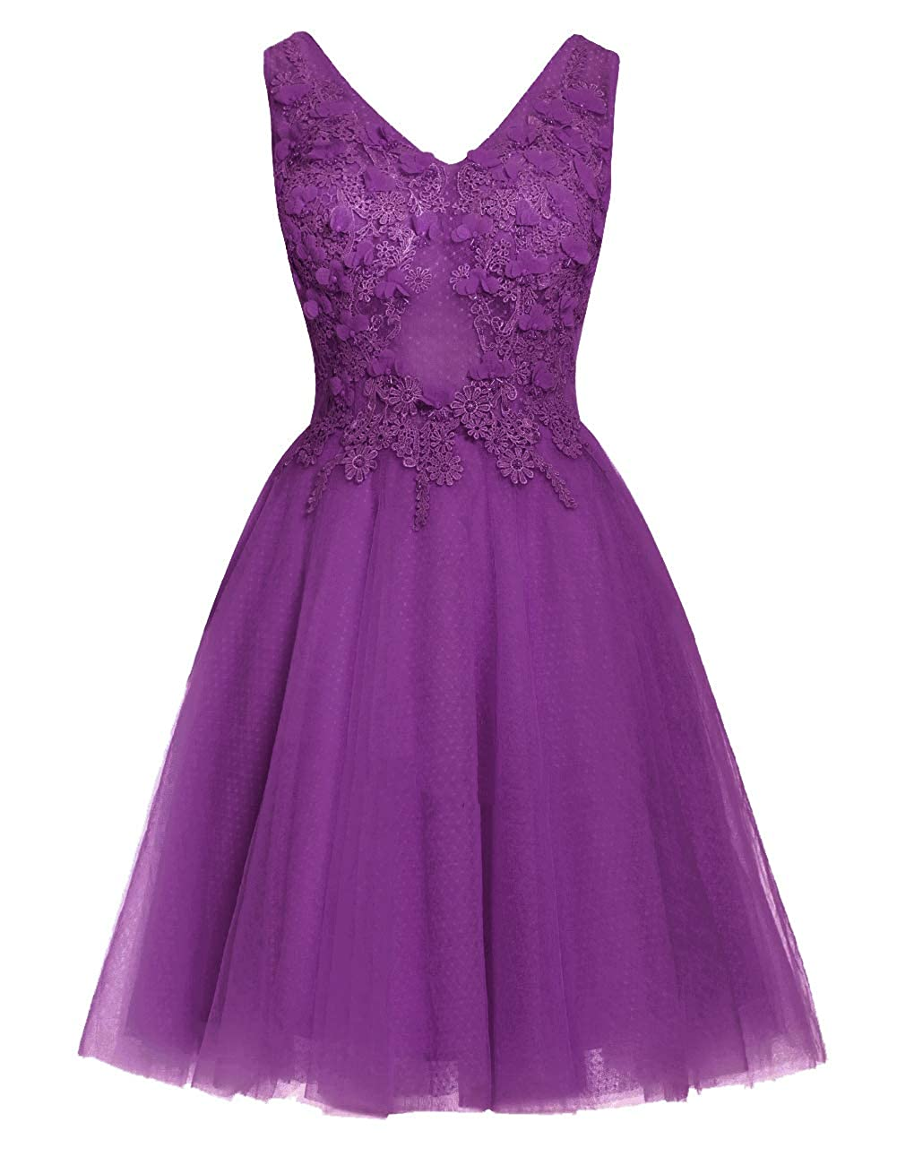 Purple Uther Short Homecoming Dresses Lace Appliques 2018 Prom Wedding Party Dress V Neck