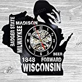 Wisconsin Gift USA States City Vinyl Record Clock Wall Decoration Modern Vintage Art Room For Sale