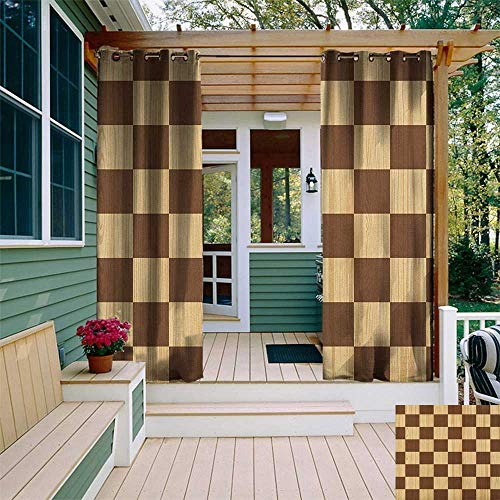 leinuoyi Checkered, Outdoor Curtain Extra Wide, Empty Checkerboard Wooden Seem Mosaic Texture Image Chess Game Hobby Theme, Fashions Drape W120 x L108 Inch Brown Pale Brown