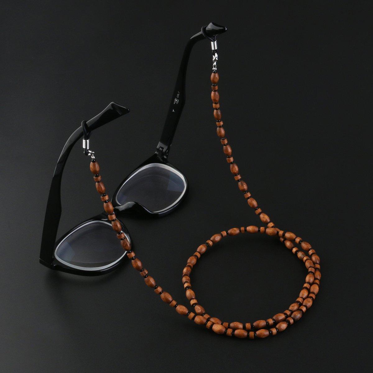 Eyeglass Not Inlcuded UEETEK Handgemachte Vintage Holzperle Brille Sonnenbrille Kette Schnur Hals Kette Holder