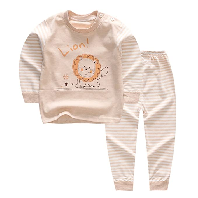 100% Organic Cotton Baby Boys Girls Pajamas Set Long Sleeve Sleepwear(3M-5T