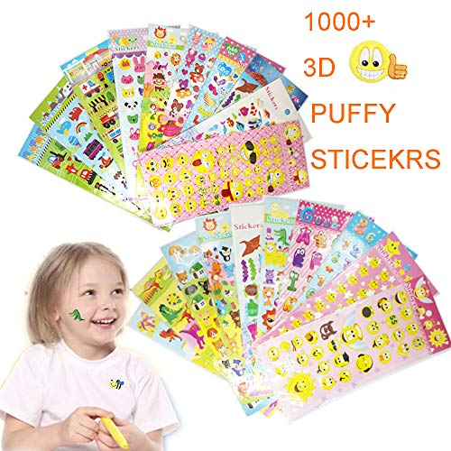 (Stickers 1000 + and 20 Different Scenes , SleepyBear 3D Puffy, Bulk Pack for Teachers School,Students, Toddlers,Scrapbooking, Present Gift, Including Cars and More)