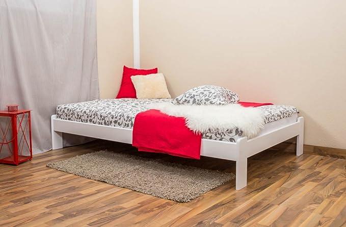 Cama futón madera de pino maciza blanco A10, incl. somier ...