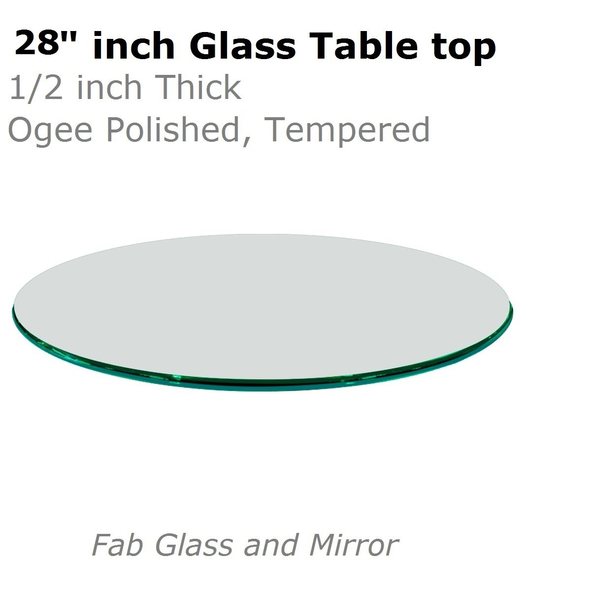 Fab Glass and Mirror 1/2'' Thick Ogee Tempered Round Glass Table Top, 28''