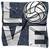 Love Volleyball Men Women Silky Scarf Head Wraps Bandana Scarves Set